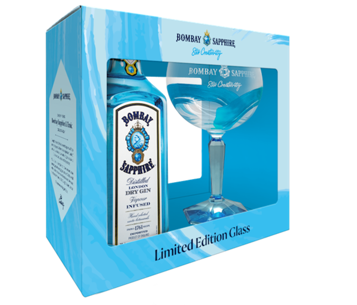 Bombay Sapphire Gin 70cl Glass Gift Pack